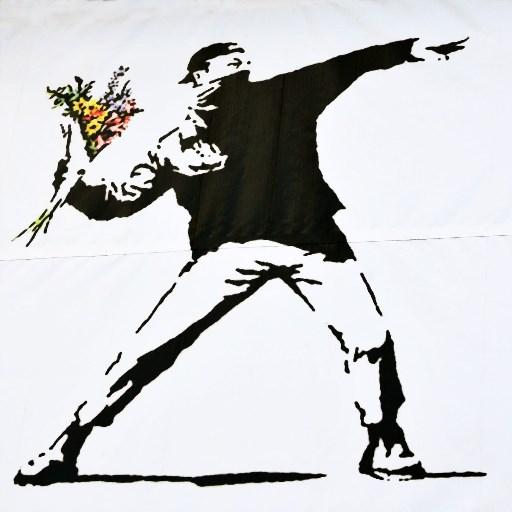 Flower-thrower-Banksy Doe Museum Prins Bernhardhoeve Zuidlaren